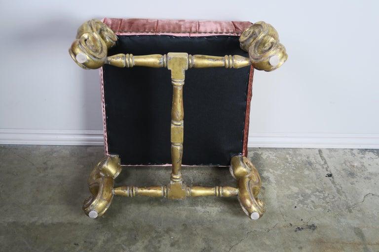 Gilt Wood Pink Velvet Tufted Benches, Pair For Sale 2