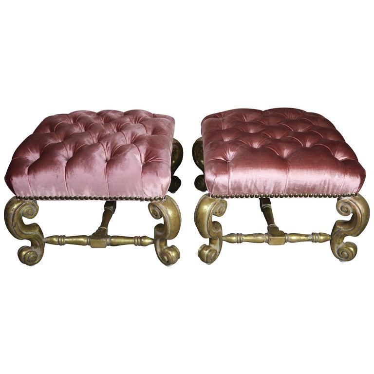 Gilt Wood Pink Velvet Tufted Benches, Pair For Sale