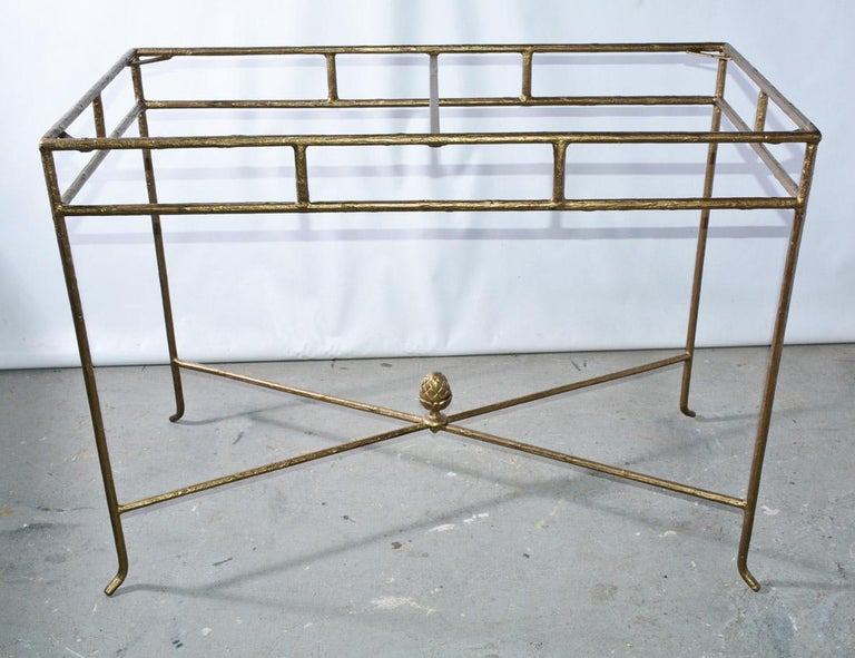 Modern Gilt Wrought Iron and Frosted Glass Console Table For Sale