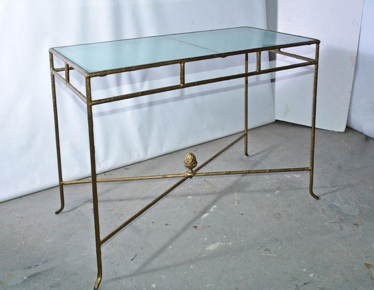 American Gilt Wrought Iron and Frosted Glass Console Table For Sale