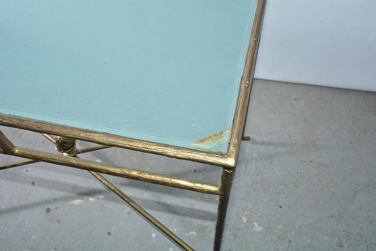 20th Century Gilt Wrought Iron and Frosted Glass Console Table For Sale