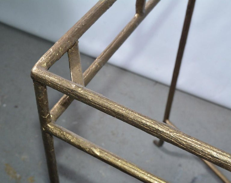 Gilt Wrought Iron and Frosted Glass Console Table For Sale 1