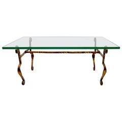 Gilt Wrought Iron Base Glass Top made in Spain