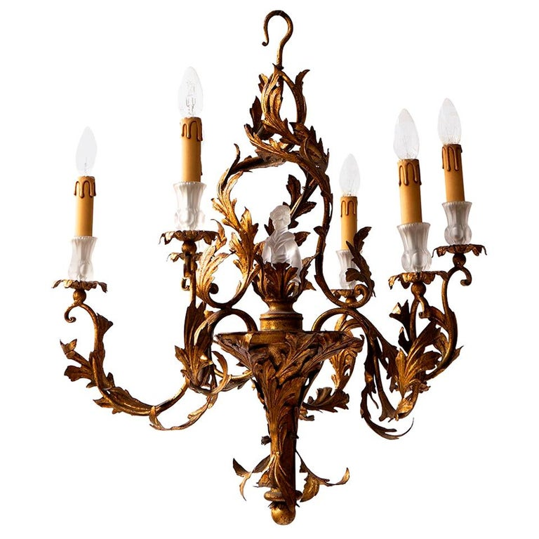 Gilt Wrought Iron Chandelier with Japanese Geisha in Crystal For Sale