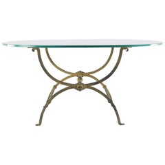 Gilt Wrought Iron Coffee Table with Oval Glass Top