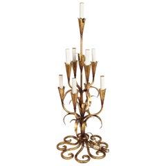 Gilt Wrought Iron Foliate Candelabra Table or Floor Lamp, Kögl Gilt, Regency