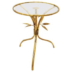 Gilt Wrought Iron Gueridon End Drinks Table / Side Table, Faux Bamboo Design