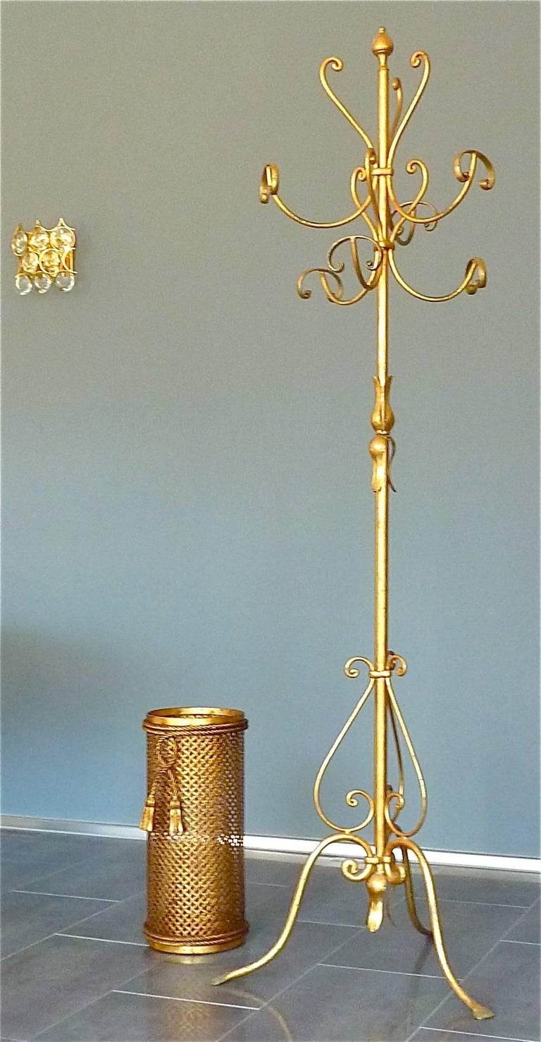 Gilt Wrought Iron Metal Coat Stand Hat Rack Fornasetti Kögl Style, Italy, 1950s For Sale 4