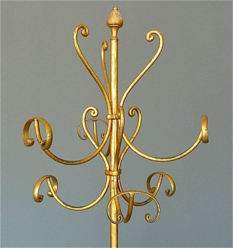 Mid-Century Modern Gilt Wrought Iron Metal Coat Stand Hat Rack Fornasetti Kögl Style, Italy, 1950s For Sale