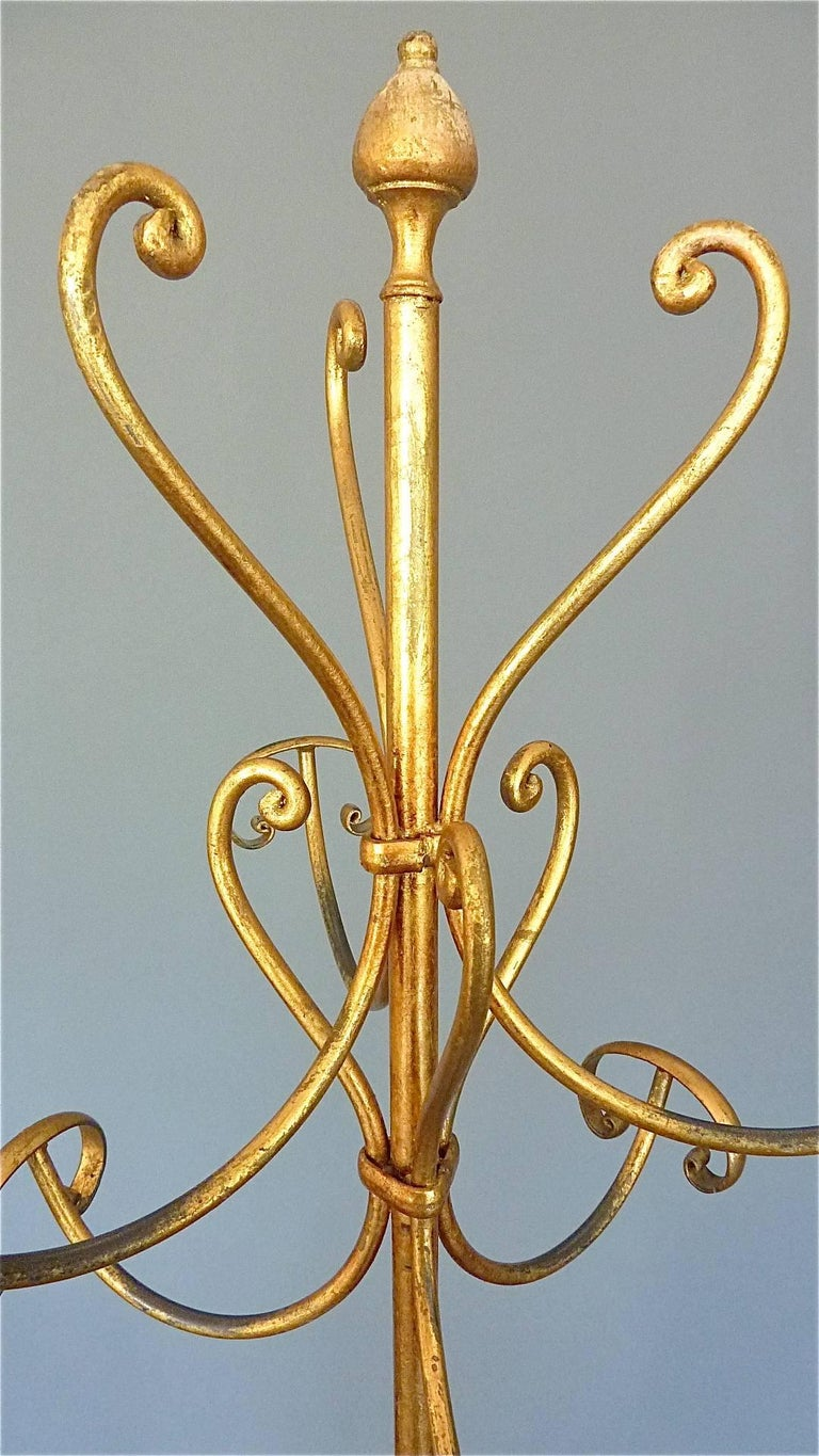 Italian Gilt Wrought Iron Metal Coat Stand Hat Rack Fornasetti Kögl Style, Italy, 1950s For Sale