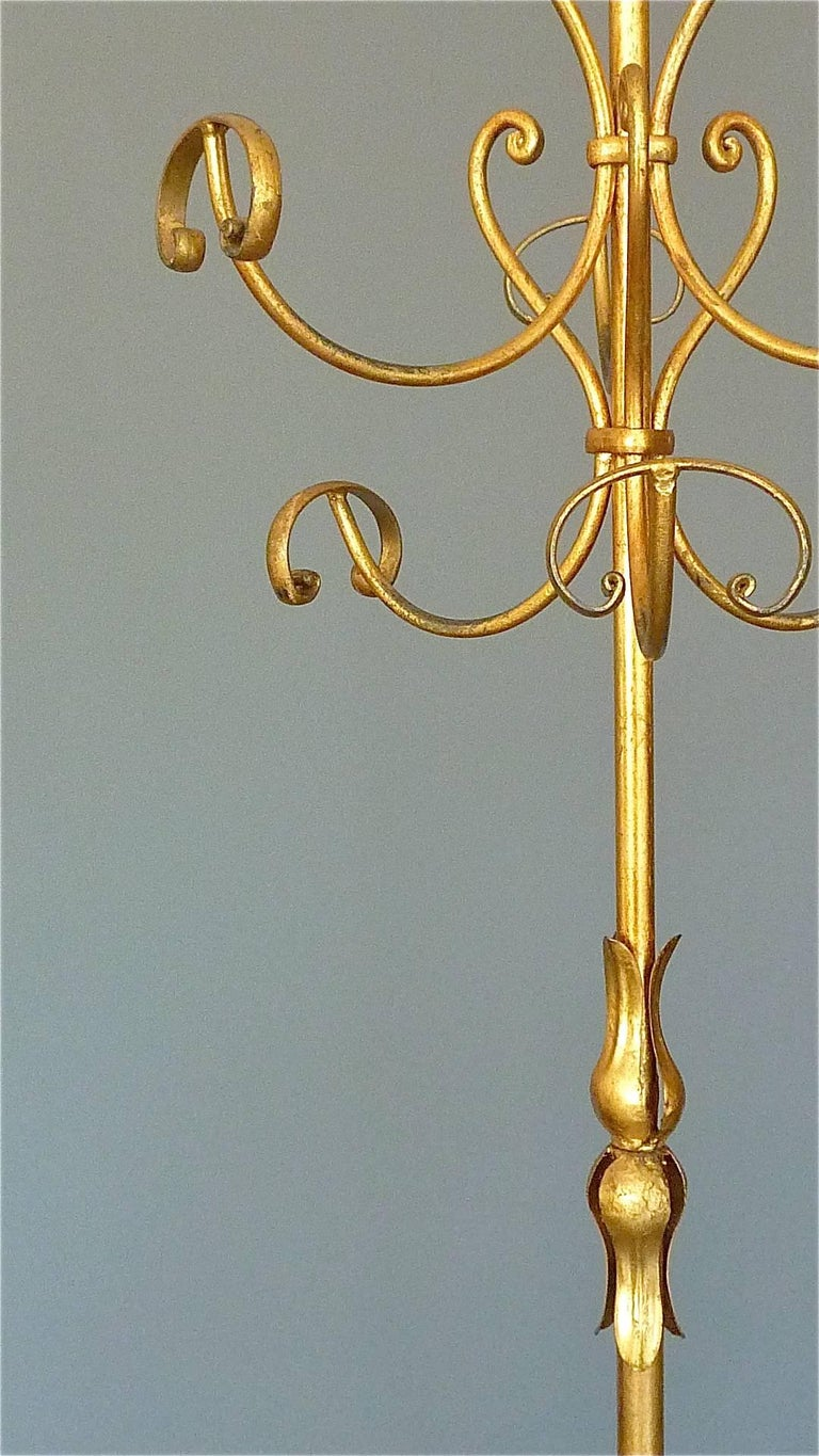 Gilt Wrought Iron Metal Coat Stand Hat Rack Fornasetti Kögl Style, Italy, 1950s For Sale 3