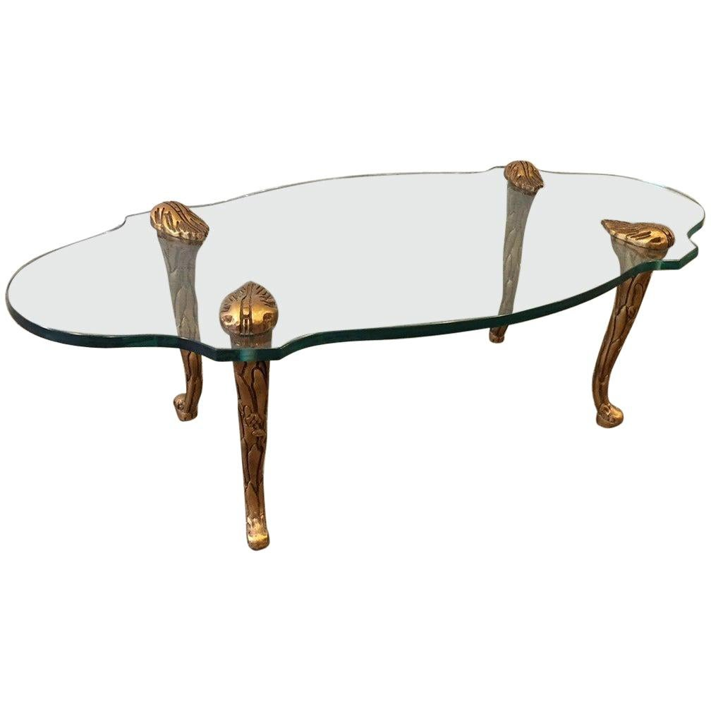 Giltwood and Glass Coffee Table Style of Maison Charles