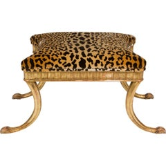 Giltwood and Leopard Klismos Style Bench