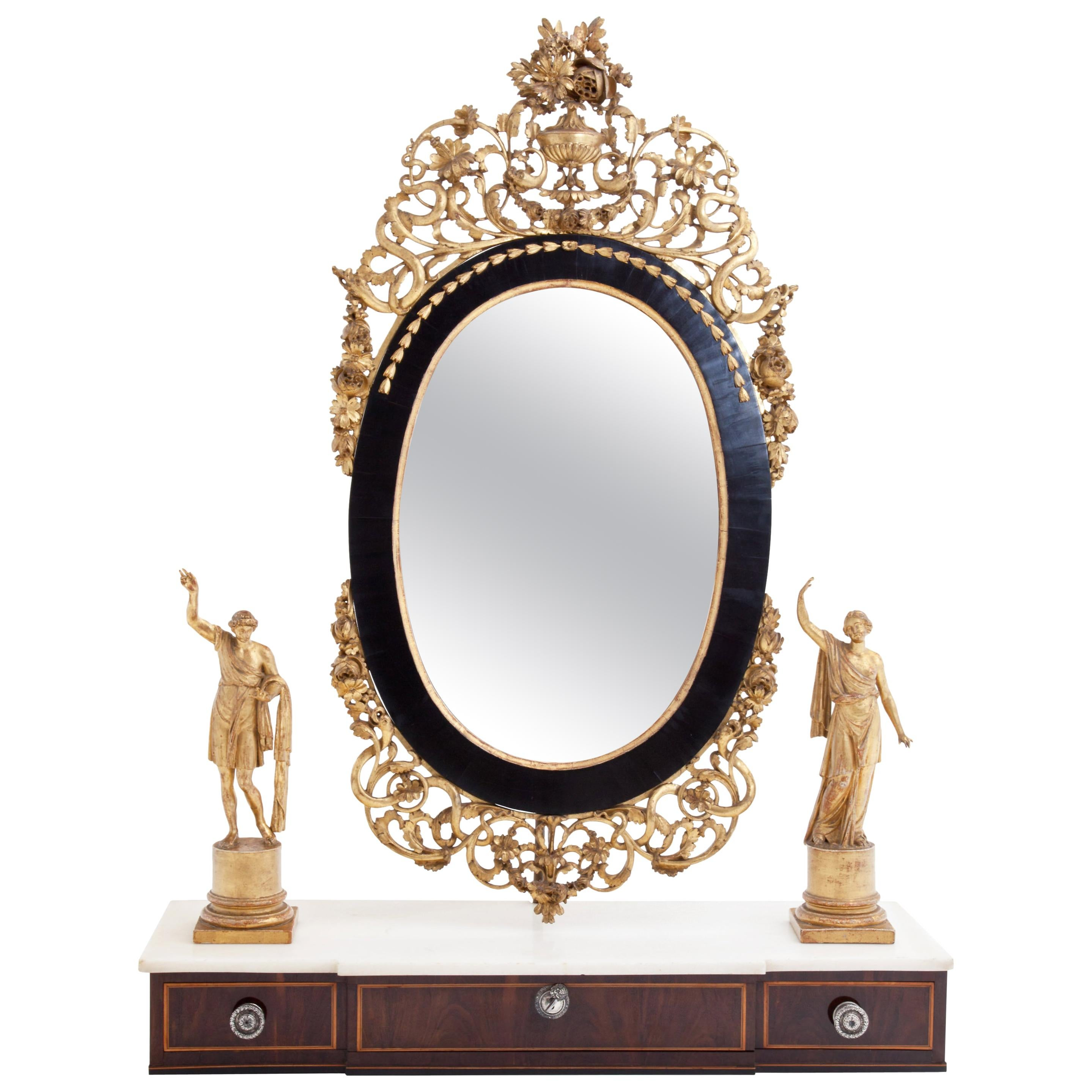 Giltwood and Mahogany Mirror with Marble Top, Piedmont / Italy, 18th Century
