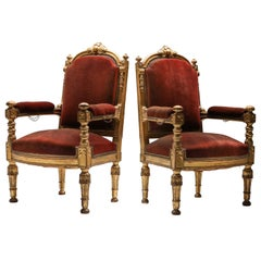 Giltwood and Velvet Antique Armchairs