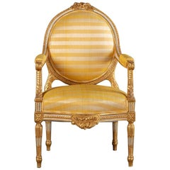 Giltwood Armchairs Upholstered in Yellow Striped Fabric