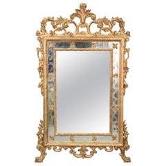 Giltwood Carved Tall Italian Rococo Wall Mirror, circa 1930