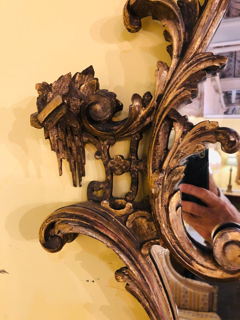 Giltwood Chinoiserie Style Wall Mirror with Girandole Continental For Sale 9