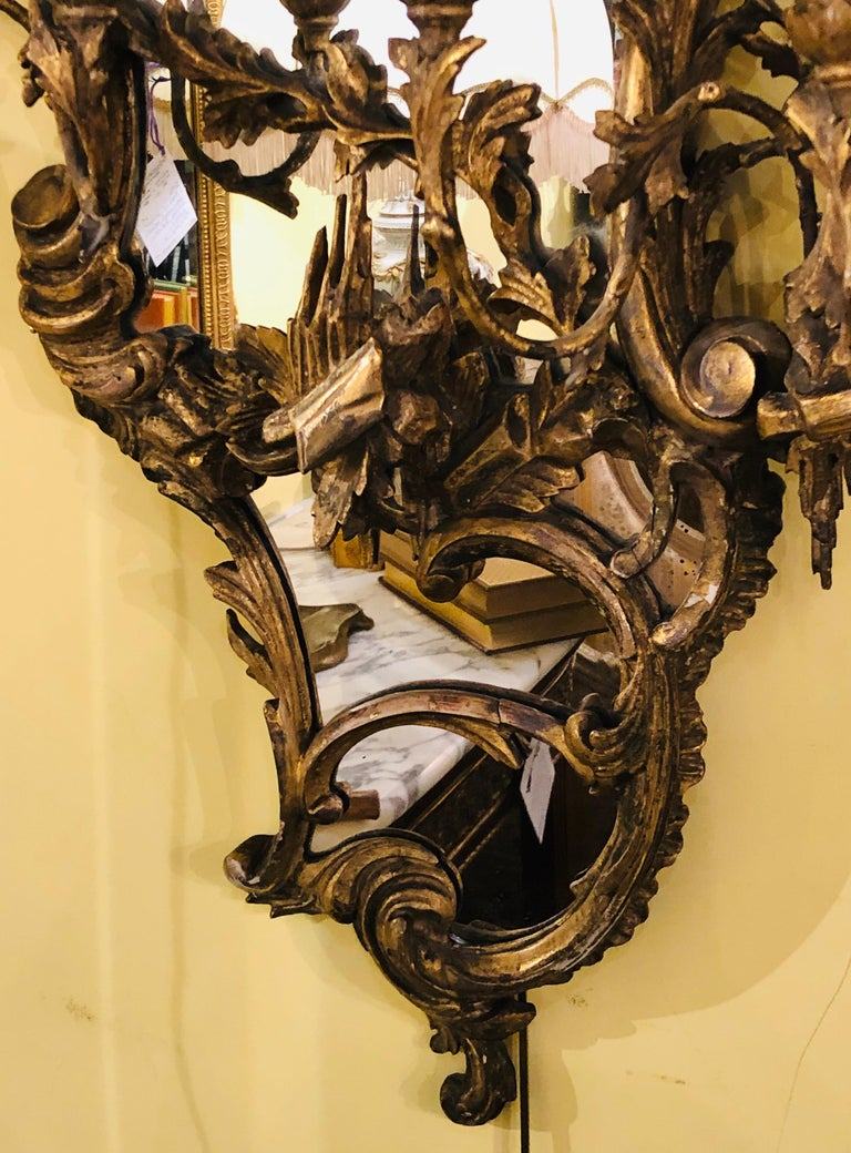 Giltwood Chinoiserie Style Wall Mirror with Girandole Continental For Sale 2