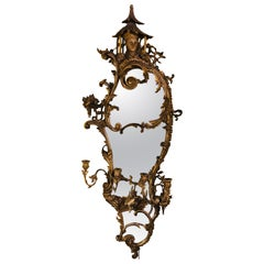 Giltwood Chinoiserie Style Wall Mirror with Girandole Continental