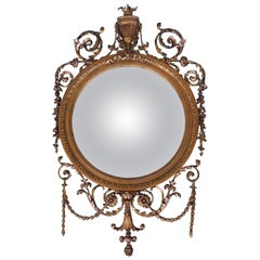 Giltwood Convex Mirror, 19th Century with Neoclassical Ornamentation