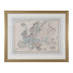 Giltwood Framed Matted Map / Europe