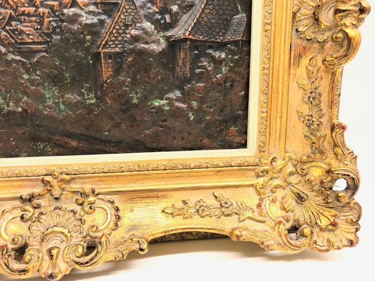 Giltwood Framed Copper of Nuernberg Germany City View Antiques 1920s Item In Good Condition For Sale In Frisco, TX