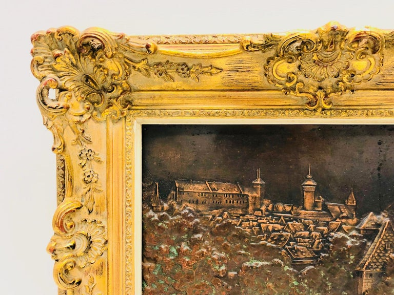 Giltwood Framed Copper of Nuernberg Germany City View Antiques 1920s Item For Sale 1