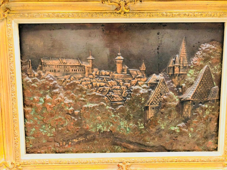 Giltwood Framed Copper of Nuernberg Germany City View Antiques 1920s Item For Sale 2
