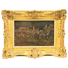 Giltwood Framed Copper of Nuernberg Germany City View Antiques 1920s Item