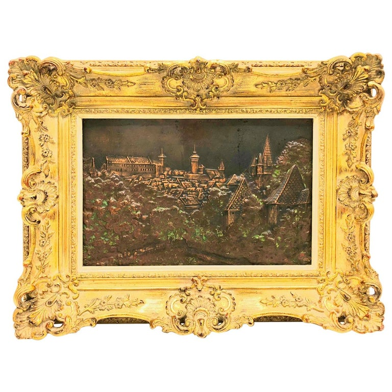 Giltwood Framed Copper of Nuernberg Germany City View Antiques 1920s Item For Sale