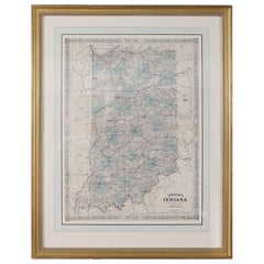 Giltwood Framed Matted Library / Study Room Map / Indiana