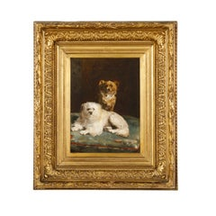 Giltwood Framed Oil on Canvas Dog Painting by Charles Van den Eycken