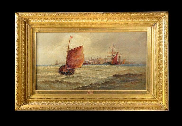 Giltwood Framed Oil on Canvas Nautical Scene For Sale 3