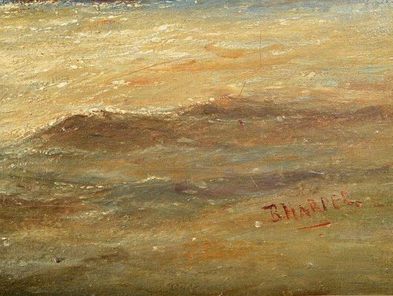 Giltwood Framed Oil on Canvas Nautical Scene In Fair Condition For Sale In Hemel Hempstead, Hertfordshire