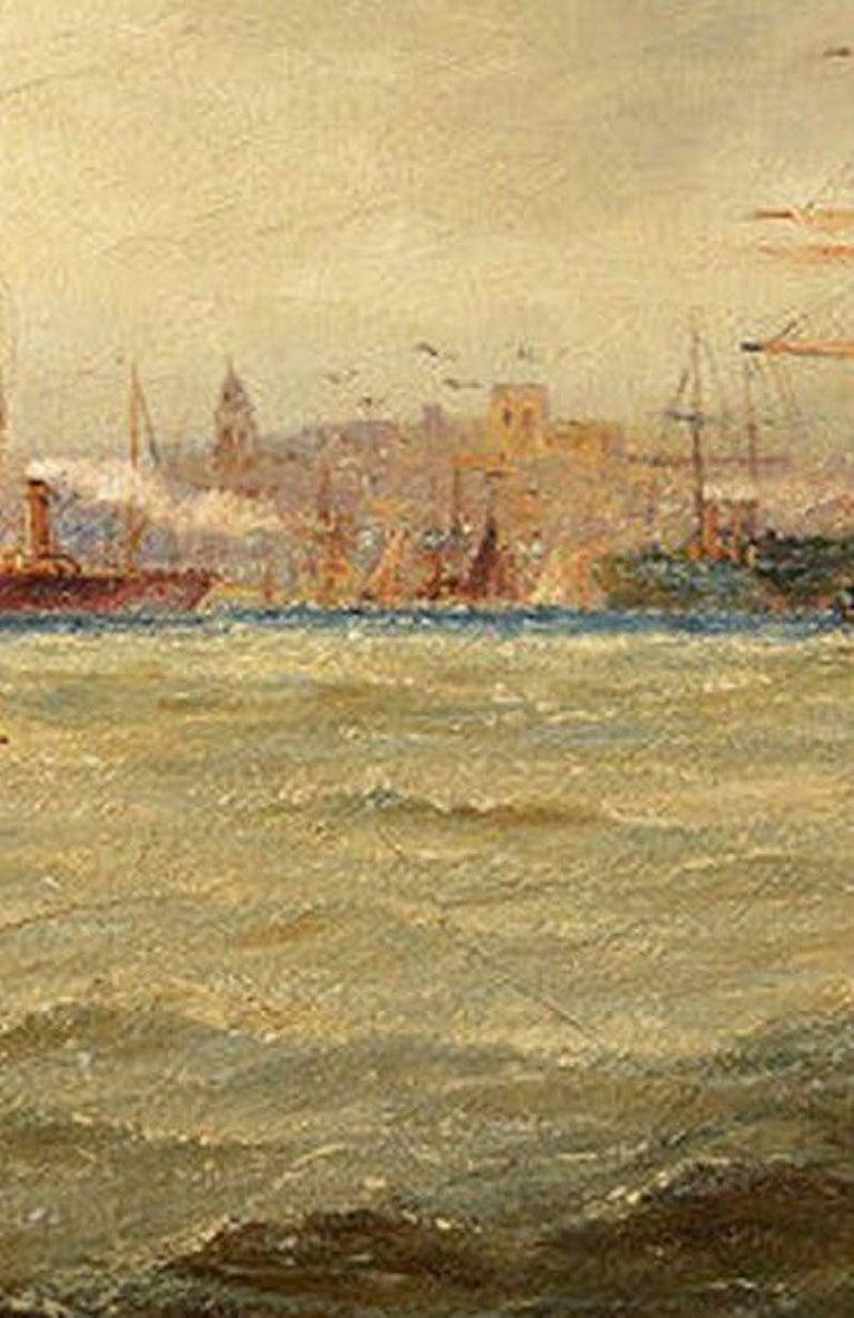 Paint Giltwood Framed Oil on Canvas Nautical Scene For Sale
