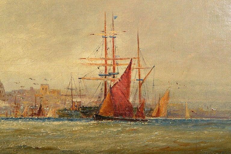 Giltwood Framed Oil on Canvas Nautical Scene For Sale 1