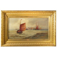 Giltwood Framed Oil on Canvas Depicting a Nautical Scene