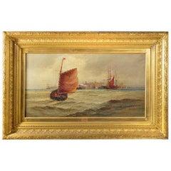 Giltwood Framed Oil on Canvas Nautical Scene