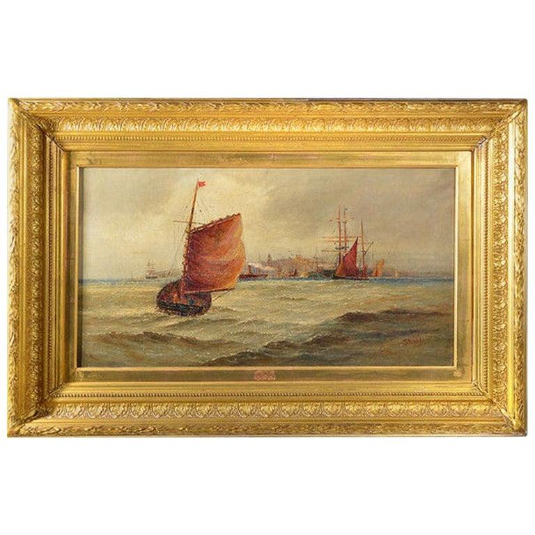 Giltwood Framed Oil on Canvas Nautical Scene For Sale