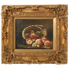 Giltwood Framed Oil on Canvas Still Life Painting