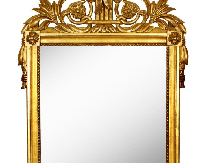 Giltwood French Louis XVI Style Mirror For Sale 1