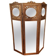 Giltwood French Napoleon III Three Mirrored Panels Screen, Late 19th Century