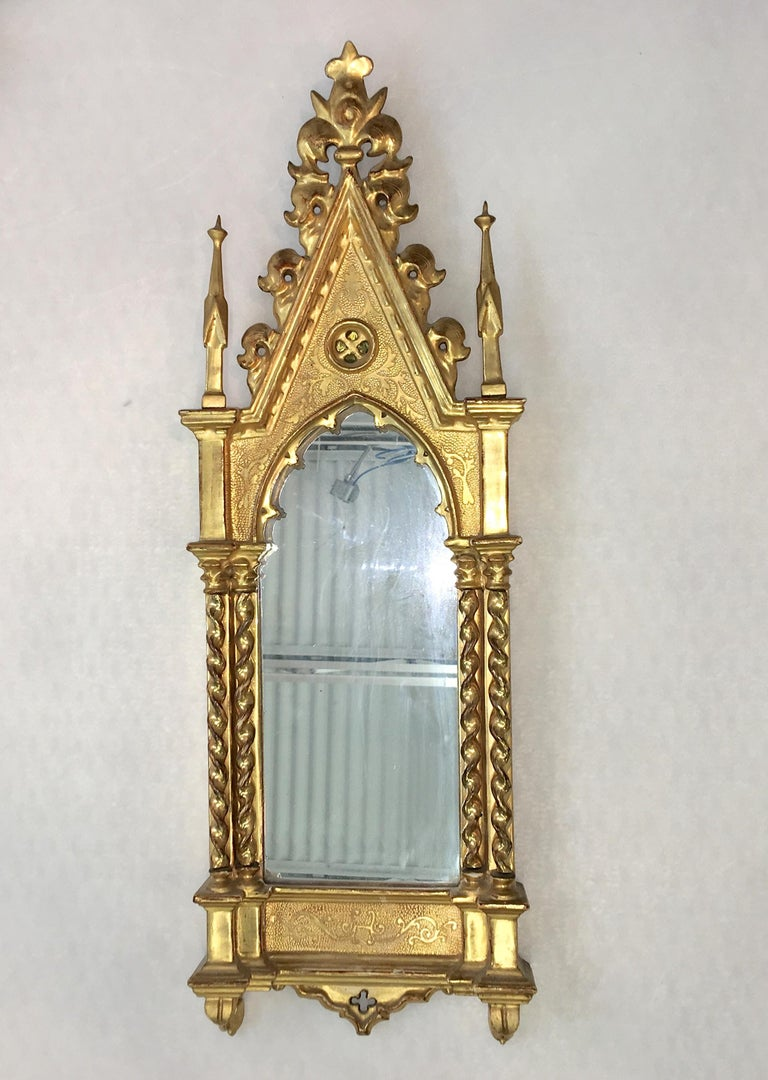 Giltwood Grand Tour Framed Gothic Mirror For Sale 7