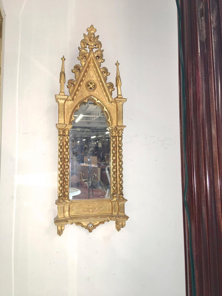 Giltwood Grand Tour Framed Gothic Mirror For Sale 9