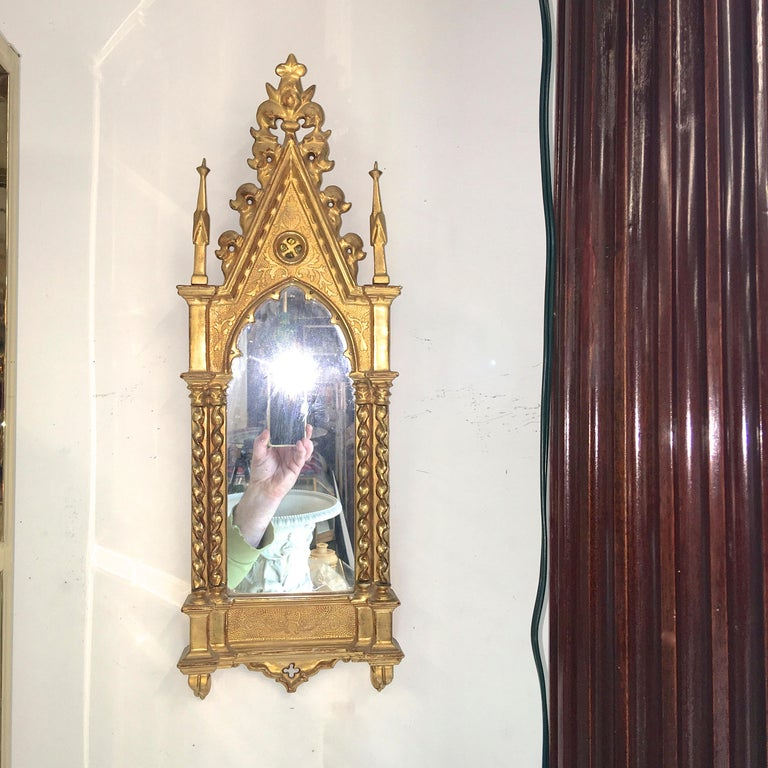 Giltwood Grand Tour Framed Gothic Mirror For Sale 10