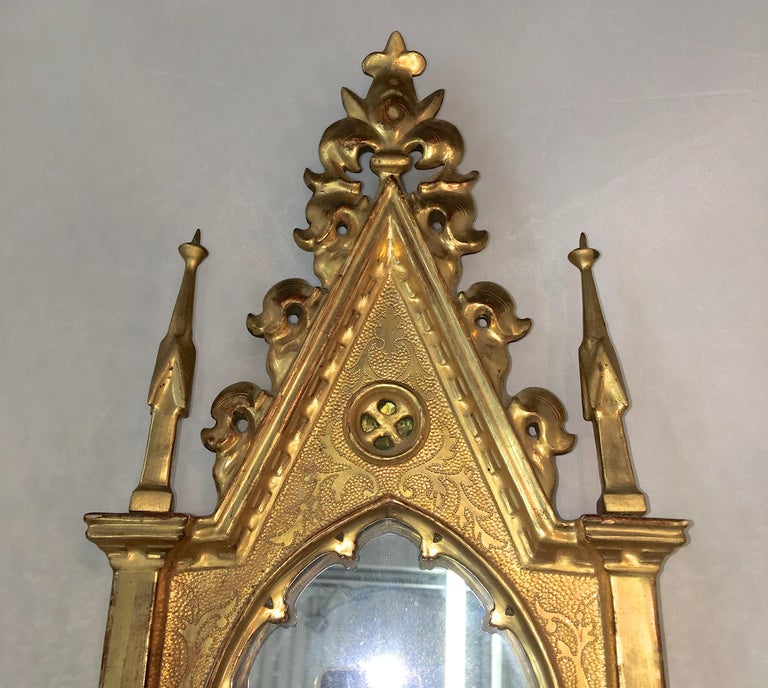 Italian Giltwood Grand Tour Framed Gothic Mirror For Sale