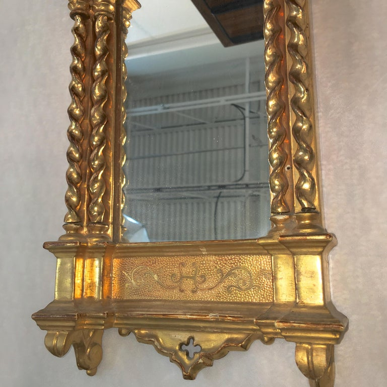 Giltwood Grand Tour Framed Gothic Mirror In Good Condition For Sale In Hingham, MA