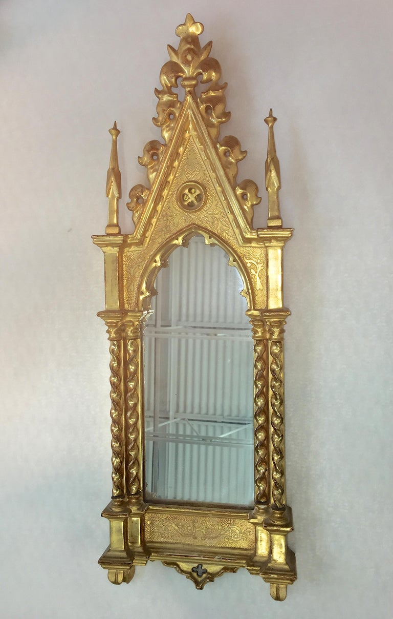 Giltwood Grand Tour Framed Gothic Mirror For Sale 1