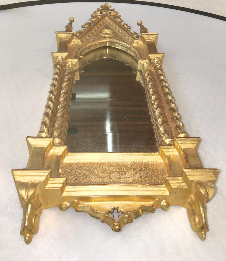 Giltwood Grand Tour Framed Gothic Mirror For Sale 3